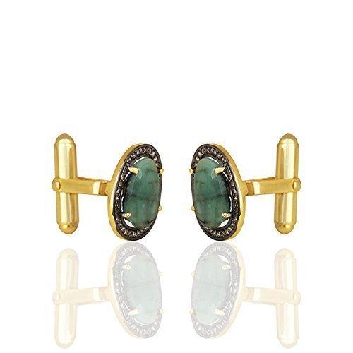Emerald Cufflinks (925 Silver Cuff Link, Emerald Cuff Link, Diamond Cufflink, Men's Cufflink, Groomsmen Cufflink, Groomsmen Gift)