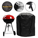 Waterproof Barbecue Cover 30-Inch Kettle BBQ Grill Cover Round Outdoor Garden Patio Grill Protection with Drawstring and Buckle Clips 75x70cm