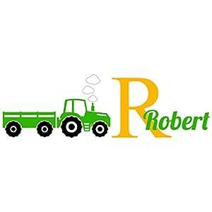 "Custom Name Monogram Wall Decal Sticker Vinyl Farm Truck Tractor Room Nursery (SUPER-JUMBO 16"" x 53"" inches)"