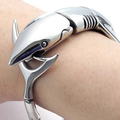 Silver Shark Men's Bracelet: Gifts for shark lovers