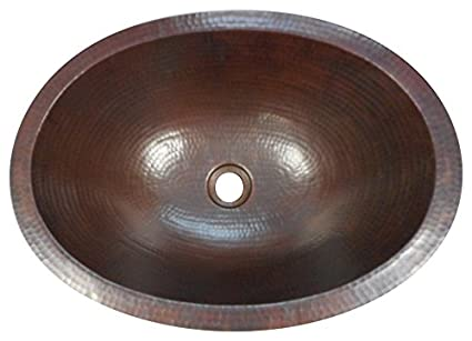 Simplycopper 16 Oval Hand Hammered Copper Bath Sink Undermount Or