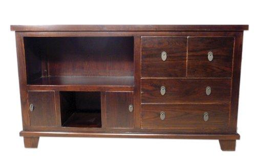 Massivholz-Kommode-Sideboard-TV-Tisch-mit-Schubladen-und-Fchern