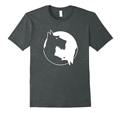 Mens Cool Yin Yang Dog Shirt - Cute Scottish Terrier Tee - White 3XL Dark Heather (Dog T-shirt Scottie)