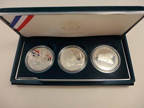 Commemorative Proof Coin Set - 1994 P Commemorative Set Veterans Proof Silver Dollars Set of 3 Coins