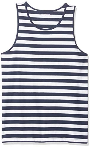 (Amazon Essentials Men's Slim-Fit Ringer Tank Top, Navy/White Stripe, X-Small)