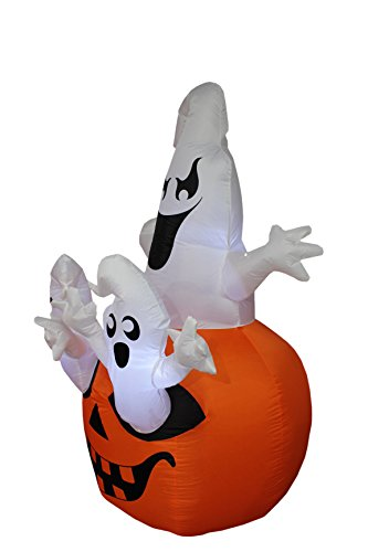 BZB Goods 5 Foot Tall Halloween Inflatable Three Ghosts with Pumpkin LED Lights Decor Outdoor Indoor Holiday Decorations, Blow up Lighted Yard Decor, Lawn Inflatables Home Family Outside by BZB Goods (Image #2)