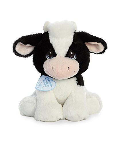 White Plush Cow - Aurora World Precious Moments Stuffed Animal, Black and White