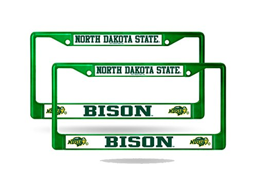 Rico North Dakota State NDSU Bison NCAA Green Chrome Metal (2) License Frame Set ()