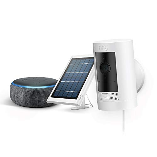 Nuevo Ring Stick Up Cam Solar 2-Pack con Echo Dot (Charcoal)