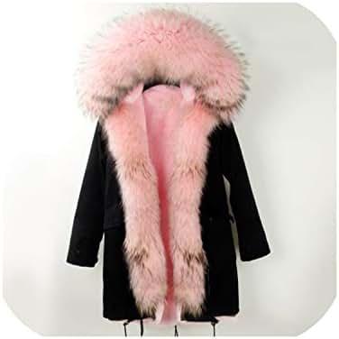 Long Winter Jacket Coat Women Real Fur Coat Big Natural Raccoon Fur Collar Hooded Outerwear Parka
