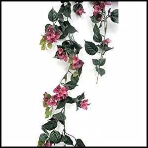 Outdoor Artificial Bougainvillea Vines- 9.5' Garland - Fuchsia Flowers 10