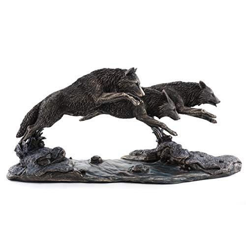 (Top Collection Grey Wolves on The Run Replica Statue- Wolf Sculpture Designed by Jody Bergsma in Premium Cold Cast Bronze - 14-Inch Long Collectible Canine Dog Wild Life Animal Figurine)