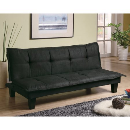 Microfiber Convertible Sofa Bed Futon Sleeper, Sturdy Wood Construction, Comfortable Seat, Adjustable Recliner Lounger, Small Apartments,Overnight Guest,Living Room, Office, Black Leatherette Finish