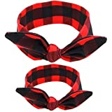 Shimmer Anna Shine Mommy and Me Matching Cotton and Spandex Stretch Headbands (Black and Red)
