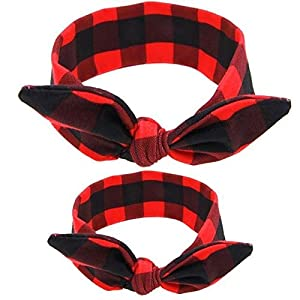 Shimmer Anna Shine Mommy and Me Matching Cotton and Spandex Stretch Headbands (Black/Red)