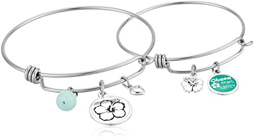 Disney Mommy & Me Stainless Steel Catch Jewelry Sets Featuring Lilo & Stitch Ohana Charms Bangle Bracelet