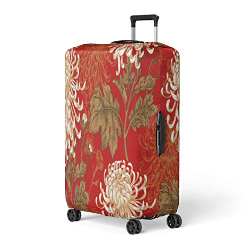 (Pinbeam Luggage Cover Floral Pattern Japanese National Flower Chrysanthemum Luxury Curtains Travel Suitcase Cover Protector Baggage Case Fits 26-28 inches)