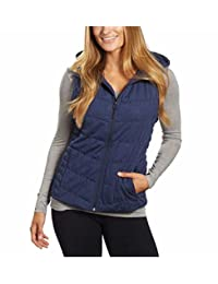 Be by Blanc Noir Womens Breathable Quilted Knit Hooded Vest (Navy,Medium)