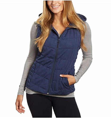Blanc Noir Be Womens Breathable Quilted Knit Hooded Vest (Navy,Medium)]()