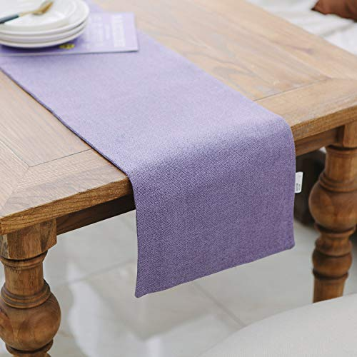NATUS WEAVER Dining Table Runner 12 x 48 inches Kitchen Room Dinner Wedding Birthday Party Burlap Rustic Table Runner, Lilac