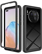 Ttimao Hoesje voor Huawei Mate 40 360° Hele Lichaam Shock Proof Doorzichtig Telefoonhoes [Screen Protector] Hybride Flexibele TPU Siliconen en Harde PC Cover Case-Zwart