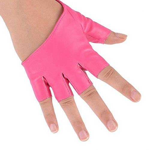 仮装ほのか注文ファッションレディース用フェイクPUレザー半指Half PalmグローブMitten (ピンク)