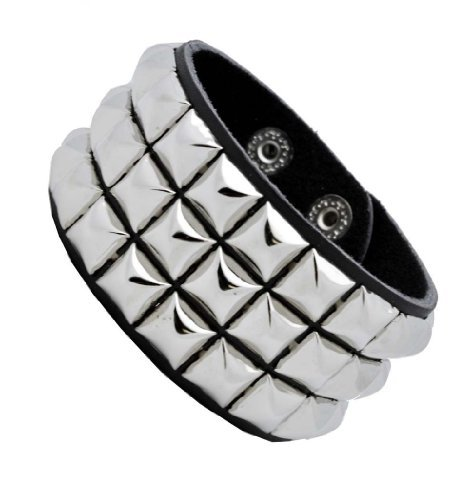 (Leather Silver Stud Wristband 80s Gothic Punk Glam Emo)