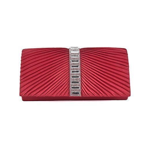 RUCHED CRYSTAL LADIES Red SATIN BAG PLEATED PARTY VELOUR CLUTCH DIAMANTE NEW CB084 CHAIN EnUqFXX