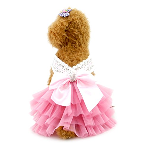 SMALLLEE_LUCKY_STORE YP0224-M Small Dog Princess Tutu Dress Formal Skirt with Bow Pet Apparel, Medium, Pink -