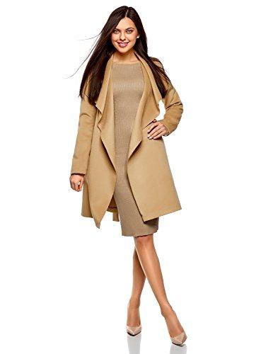 oodji Ultra Women's Belted No Closure Coat, Beige, 4