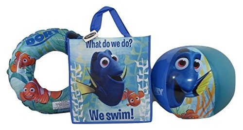 Finding Dory Swim Ring, Beach Ball, and Reusable Tote Bundle Set of 3 by Finding Dory