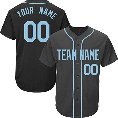 YNMYS Black Custom Baseball Jersey for Men Women Kids Full Button Mesh Embroidered Team Name & Numbers S-5XL