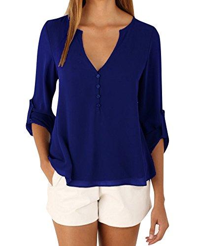 Zaffiro Con Irregolare Camicie Casuali Pulsante Donne Lunga Blu Scollo Manica V Orlo Chiffon wUx7pBq