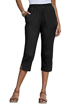 Roamans Women's Plus Size Soft Knit Capri Black,S