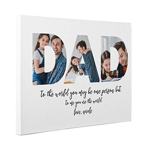 Father s Day Gift Custom Photo Dad To The World Canvas Wall Art