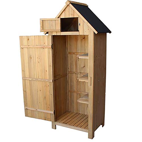 Cozywind Fir Wood Arrow Shed Outdoor Storage Cabinet With Single Door Fir Wooden Garden Shed For Gardening Tools And Sundries Storage Tool Shed, Wooden Three-Tier Locker