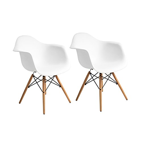 Buschman Set of Two White Mid Century Modern Dining Room Wooden Legs Chairs, Armchairs