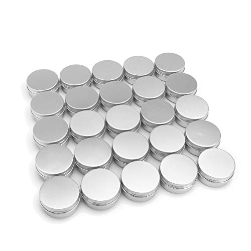 60 Pack aluminum round lip balm tin container bottle with screw thread lid - great for store spices, candies, tea or gift giving, (1oz) ()