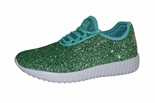ROXY ROSE Womens Lace Up Glitter Shoes Fashion Metallic Sequins Light Weight Sneaker (8 B(M) US, Mint) ()