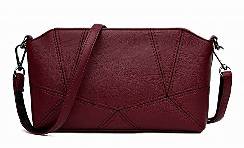 Voguezone009 Women Fashion Handbags Casual Crossed Burgundy Pu Shoulder Bags