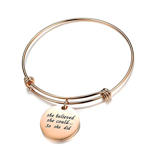 A Rose Gold Bangle Jewelry-She Believed She Could So She Did Stainless Steel Adjustable Bangle Wire Bracelet In memory Jewelry Memory Wire Bangle