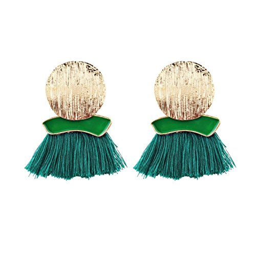 Loop Fringe - Clearance Earrings,Lethez 11.5cm Bohemian Round Tassel Fringe Dangle Earring Ethnic Round Ear Stud Drop Earrings (Green)