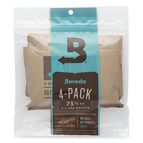 Boveda 75% RH 60 Gram, Patented 2-Way Humidity Control, (1) 4-Pack, Unwrapped, Resealable Bag; Up to 25 Cigars; Perfect for Leaky humidors, Desert climates and Higher altitudes ()