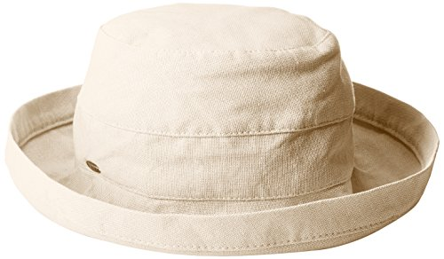 Scala Women's Medium Brim Cotton Hat, Linen, One Size