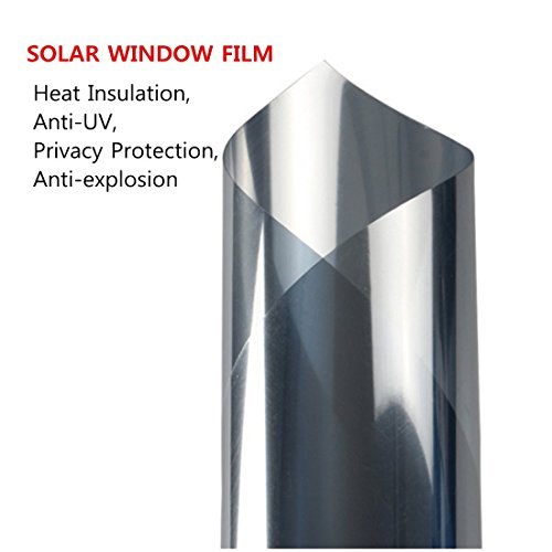 Soqool One Way Mirror Window Film Static Cling Solar Film Daytime Privacy Mirrored Tint, Heat Contral and Sun Rays Reflecting PVC Film for Home/Office/Building Window Glass, 23