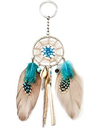 Womens Girls Dream Catcher Artificial Feather Fancy Key Chain Ring Lovely Keychain Keyrings Handbag Bag Purse