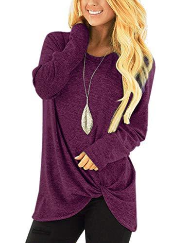- ZENUTA Women's Casual Long Sleeve Round Neck Loose Tunic T Shirt Blouse Tops