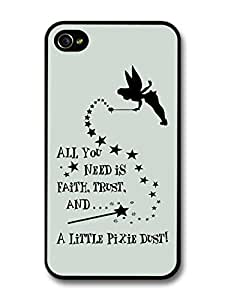 Peter Pan Tinker Bell Pixie Dust Disney Animation Movie Quote case for iPhone 4 4S by runtopwell