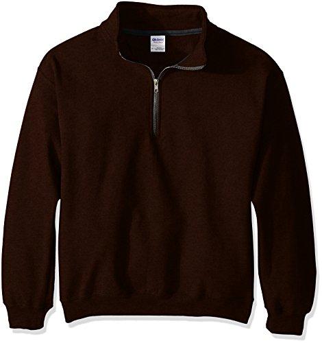 Gildan Men's Fleece Quarter-Zip Cadet Collar Sweatshirt, Russet, - Quarter Zip Pullover Fleece