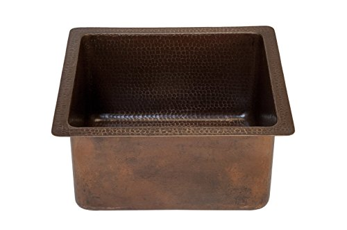 Premier Copper Products BREC16DB 16-Inch Universal Gourmet Rectangular Hammered Copper Kitchen Bar Single Basin Sink, Oil Rubbed - Copper Prep Rectangle Sink